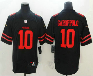 Men's San Francisco 49ers #10 Jimmy Garoppolo Black 2017 Vapor Untouchable Stitched NFL Nike Limited Jersey