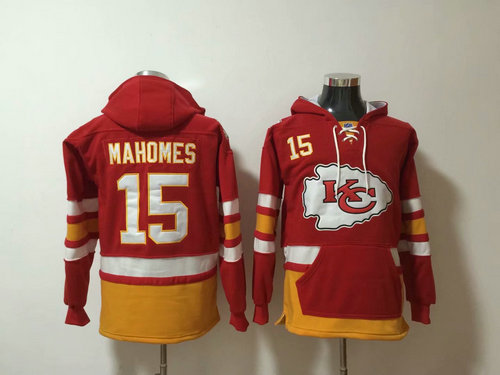 Nike Chiefs 15 Patrick Mahomes Red All Stitched Pullover NFL Hoodie