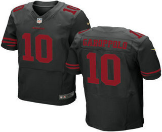 Men's San Francisco 49ers #10 Jimmy Garoppolo Black Alternate Stitched NFL Nike Elite Jersey