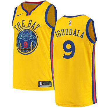 Men's Golden State Warriors #9 Authentic Andre Iguodala Gold City Edition Nike NBA Jersey