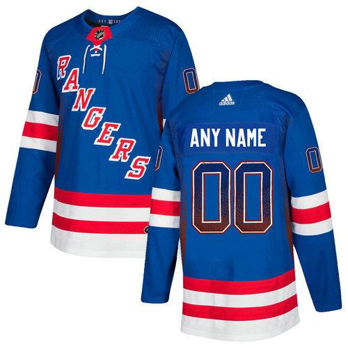 New York Rangers Blue Men's Customized Drift Fashion Adidas Jersey