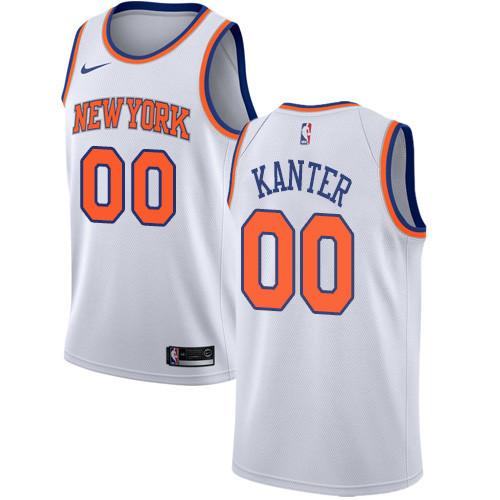 Nike Knicks #00 Enes Kanter White NBA Swingman Association Edition Jersey