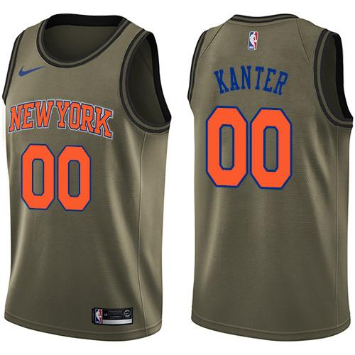 Nike Knicks #00 Enes Kanter Green Salute to Service NBA Swingman Jersey