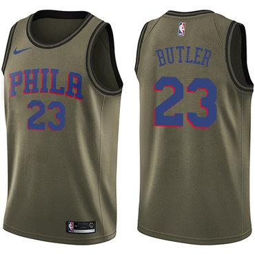 Nike 76ers #23 Jimmy Butler Green NBA Swingman Salute to Service Jersey