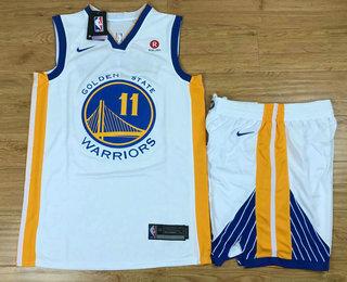 Men's Golden State Warriors #11 Klay Thompson White 2017-2018 Nike Swingman Rakuten Stitched NBA Jersey With Shorts