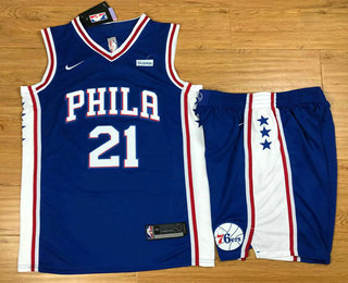 Men's Philadelphia 76ers #21 Joel Embiid Royal Blue 2017-2018 Nike Swingman Stubhub Stitched NBA Jersey With Shorts