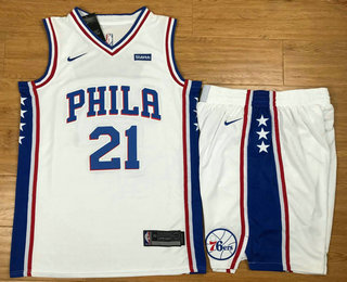 Men's Philadelphia 76ers #21 Joel Embiid White 2017-2018 Nike Swingman Stubhub Stitched NBA Jersey With Shorts