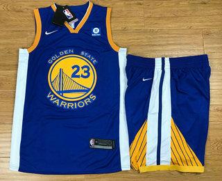 Men's Golden State Warriors #23 Draymond Green Blue 2017-2018 Nike Swingman Rakuten Stitched NBA Jersey With Shorts