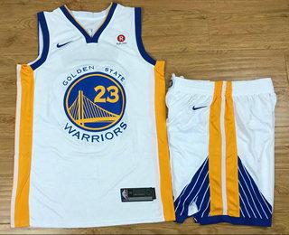 Men's Golden State Warriors #23 Draymond Green White 2017-2018 Nike Swingman Rakuten Stitched NBA Jersey With Shorts