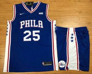 Men's Philadelphia 76ers #25 Ben Simmons Royal Blue 2017-2018 Nike Swingman Stubhub Stitched NBA Jersey With Shorts
