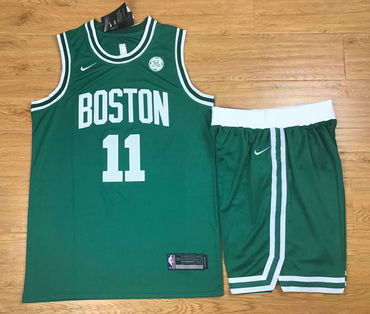 Men's Boston Celtics #11 Kyrie Irving Green 2017-2018 Nike Swingman Stitched NBA Jersey With Shorts