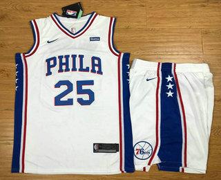 Men's Philadelphia 76ers #25 Ben Simmons White 2017-2018 Nike Swingman Stubhub Stitched NBA Jersey With Shorts