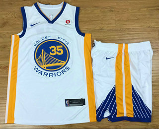 Men's Golden State Warriors #35 Kevin Durant White 2017-2018 Nike Swingman Stitched NBA Jersey With Shorts