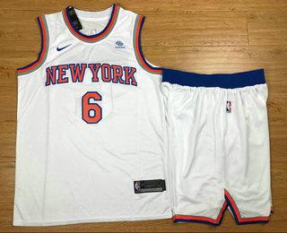Men's New York Knicks #6 Kristaps Porzingis New White 2017-2018 Nike Swingman Squarespace Stitched NBA Jersey With shorts