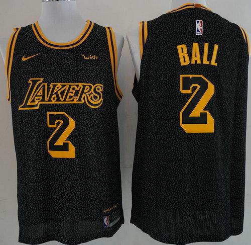 Nike Lakers 2 Lonzo Ball Black NBA Swingman City Edition Jersey