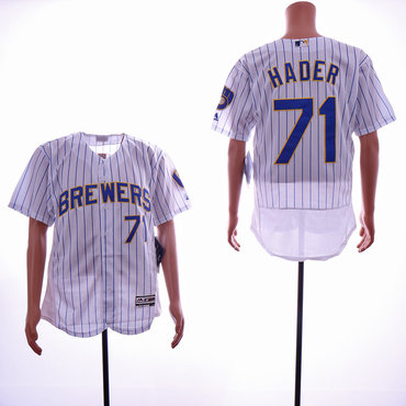 Men's Milwaukee Brewers #71 Josh Hader White Flexbase Jersey