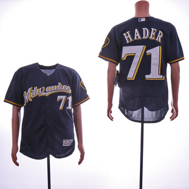 Men's Milwaukee Brewers #71 Josh Hader Navy Flexbase Jersey