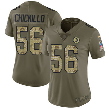 Women's Pittsburgh Steelers #56 Anthony Chickillo Olive Camo Nike NFL 2017 Salute to Service LimitedJersey
