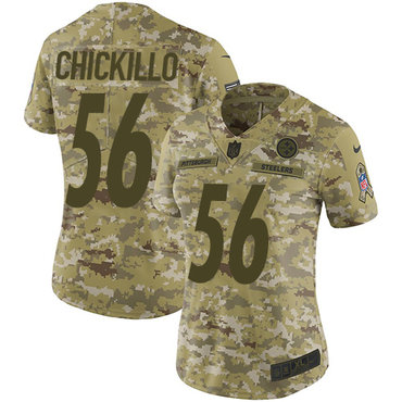 Women's Pittsburgh Steelers #56 Anthony Chickillo Camo Nike NFL 2018 Salute to Service Limited Jersey
