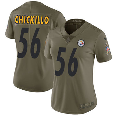 Women's Pittsburgh Steelers #56 Anthony Chickillo Olive Nike NFL 2017 Salute to Service Limited Jersey