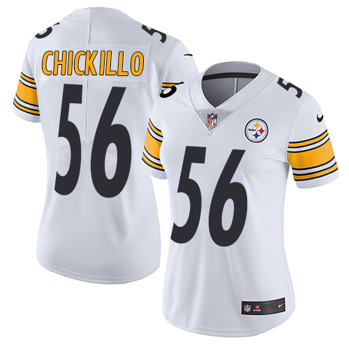Women's Pittsburgh Steelers #56 Anthony Chickillo White Nike NFL Road Vapor Untouchable LimitedJersey