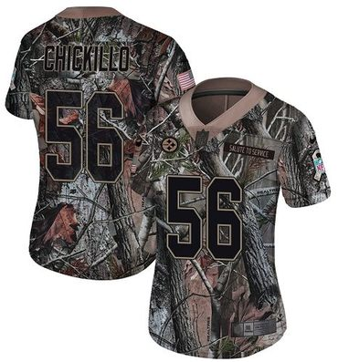 Women's Pittsburgh Steelers #56 Anthony Chickillo Camo Nike NFL Rush Realtree Limited Jersey
