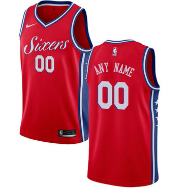 Women's Customized Philadelphia 76ers Swingman Red Nike NBA Statement EditionJersey