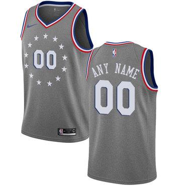 Men's Customized Philadelphia 76ers Swingman Gray Nike NBA City Edition Jersey