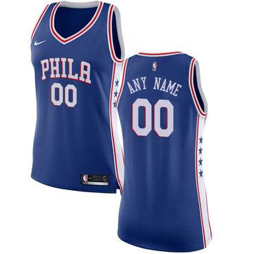 Women's Customized Philadelphia 76ers Swingman Blue Nike NBA Icon Edition Jersey