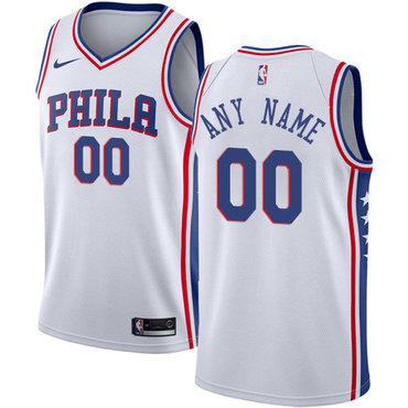 Youth Customized Philadelphia 76ers Swingman White Nike NBA Association Edition Jersey