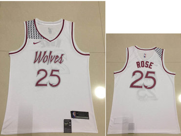 Men's Minnesota Timberwolves #25 Derrick Rose Nike White 2018-19 Swingman Earned Edition Jersey