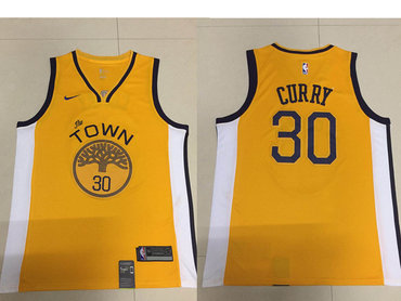 Men's Golden State Warriors #30 Stephen Curry Nike Yellow 2018/19 Swingman Earned Edition Jersey