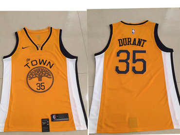 Men's Golden State Warriors #35 Kevin Durant Nike Yellow 2018/19 Swingman Earned Edition Jersey