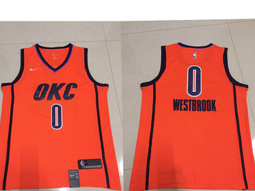 Men's Oklahoma City Thunder #0 Russell Westbrook Nike Orange 2018-19 Swingman Earned Edition Jersey
