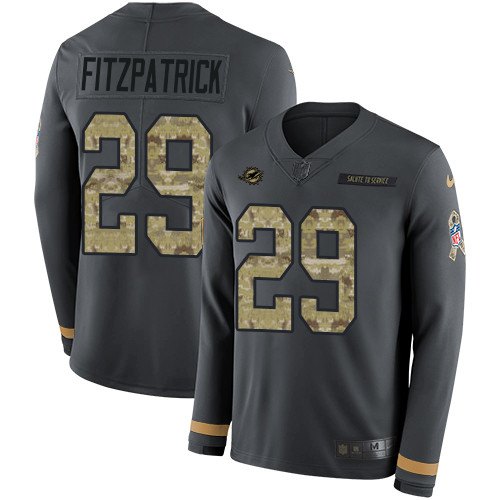 Nike Dolphins #29 Minkah Fitzpatrick Anthracite Salute to Service Men's Stitched NFL Limited Therma Long Sleeve Jersey