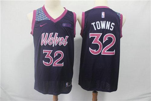 Minnesota Timberwolves 32 Karl-Anthony Towns Nike Purple 2019 Swingman City Edition Jersey