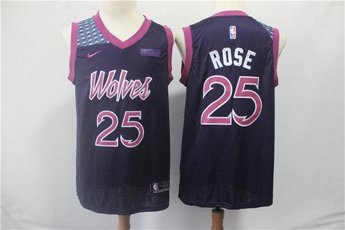 Minnesota Timberwolves 25 Derrick Rose Nike Purple 2019 Swingman City Edition Jersey