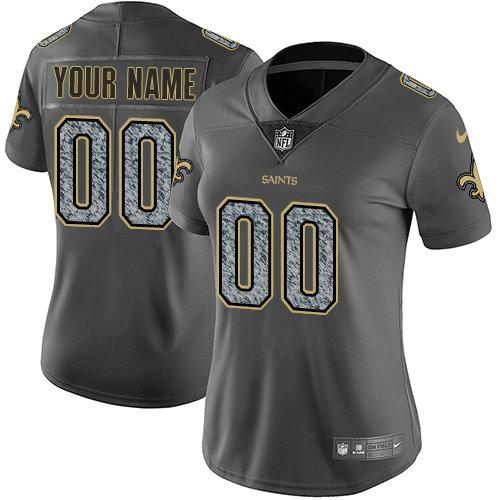 Women's Nike New Orleans Saints Customized Gray Static Vapor Untouchable Jersey