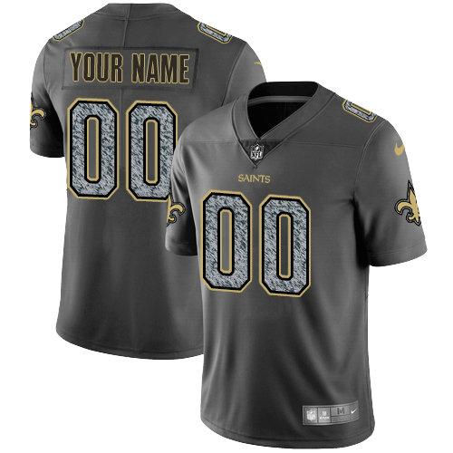Men's Nike New Orleans Saints Customized Gray Static Vapor Untouchable Limited NFL Jersey