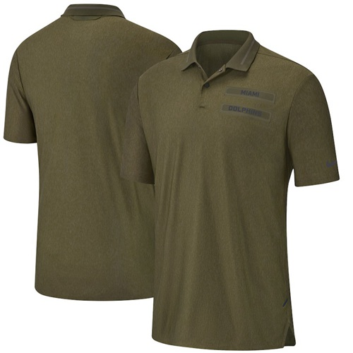 Miami Dolphins Nike Salute to Service Sideline Polo Olive