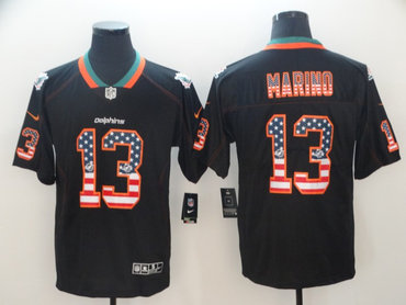 Nike Miami Dolphins #13 Dan Marino Black USA Flag Fashion Limited Jersey