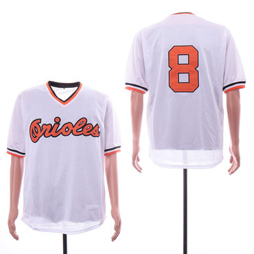 Men's Baltimore Orioles #8 Cal Ripken Jr White Mesh Throwback Jersey