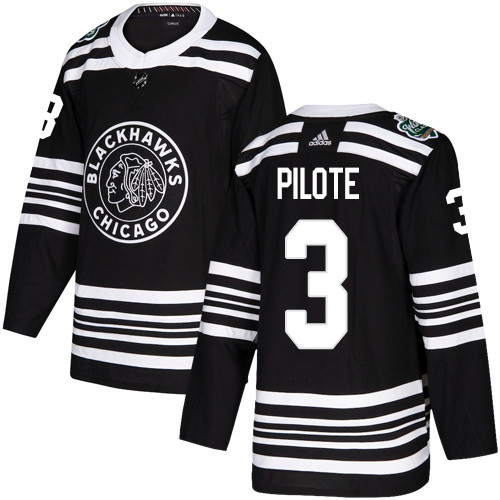 Adidas Blackhawks #3 Pierre Pilote Black Authentic 2019 Winter Classic Stitched NHL Jersey