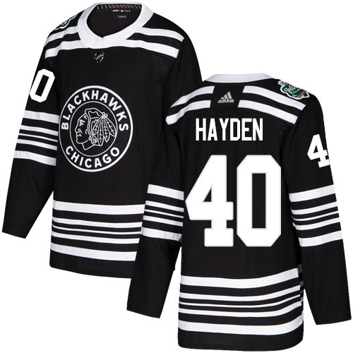 Adidas Blackhawks #40 John Hayden Black Authentic 2019 Winter Classic Stitched NHL Jersey