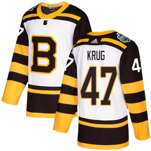 Adidas Bruins #47 Torey Krug White Authentic 2019 Winter Classic Stitched NHL Jersey
