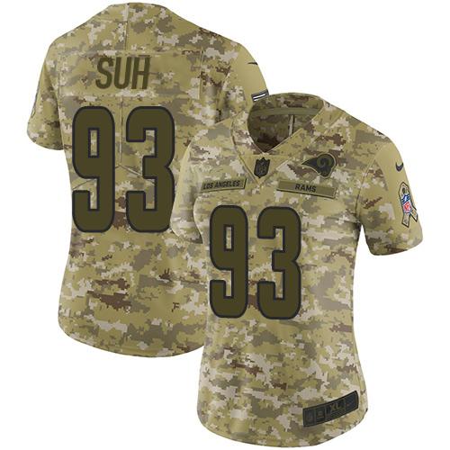 Nike Rams #93 Ndamukong Suh Camo Women's Stitched NFL Limited 2018 Salute to Service Jersey