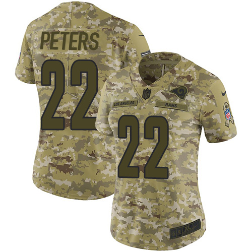 Nike Rams #22 Marcus Peters Camo Women's Stitched NFL Limited 2018 Salute to Service Jersey