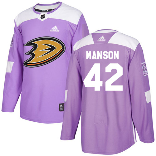 Adidas Ducks #42 Josh Manson Purple Authentic Fights Cancer Stitched NHL Jersey