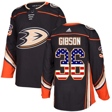 Adidas Ducks #36 John Gibson Black Home Authentic USA Flag Stitched NHL Jersey