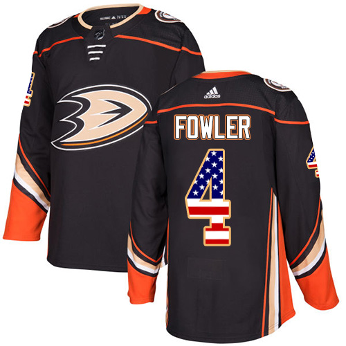 Adidas Ducks #4 Cam Fowler Black Home Authentic USA Flag Stitched NHL Jersey